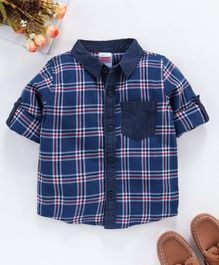 Babyhug Full Sleeves Shirt Checked - Navy Blue