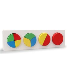 Little Genius Wooden Fraction In Circle Board - Multicolor