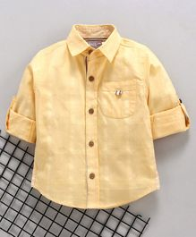 Little Kangaroos Full Sleeves Checked Color Shirt - Yellow