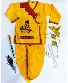 Sakhyam Makhan Chor Embroidery Full sleeves Kurta & Dhoti with Jewellery Set 24 Inch - Yellow