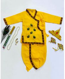 Sakhyam Mor Pankh Embroidery Full sleeves Kurta & Dhoti with Jewellery Set 24 Inch - Yellow