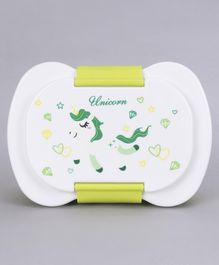 Lunch Box With Container & Fork Spoon Unicorn Print - White Green