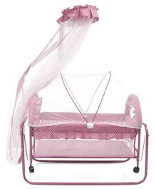 Baby Cradle With Double Mosquito Net Dot Print- Pink