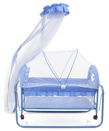Baby Cradle With Double Mosquito Net Dot Print- Blue