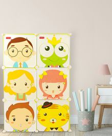 Babyhug 6 Cabinets Detachable Storage Unit Cartoon Print - Green
