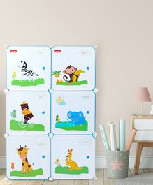 Babyhug 6 Cabinets Detachable Storage Unit Cartoon Print - Blue