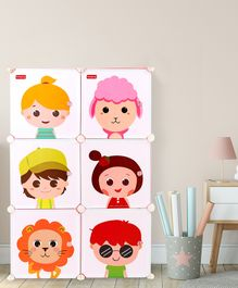 Babyhug 6 Cabinets Detachable Storage Unit Cartoon Print - Pink