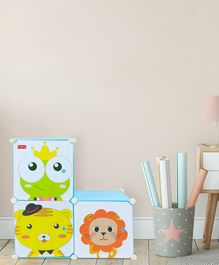 Babyhug 3 Cabinets Detachable Storage Unit Cartoon Print - Blue
