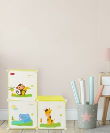 Babyhug 3 Cabinets Detachable Storage Unit Cartoon Print - Green