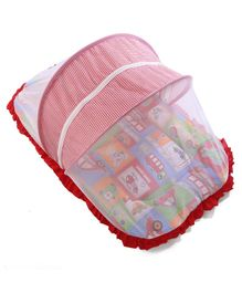 Mee Mee Baby Mattress Set With Mosquito Net And Pillow Vehicle Print - Multicolor