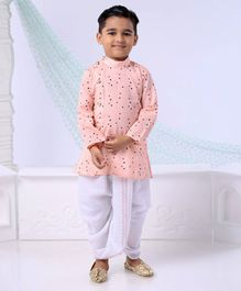 Dapper Dudes Polka Print Full Sleeves Kurta & Dhoti Set - Peach