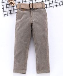 Noddy Full Length Self Design Pants With Belt - Beige