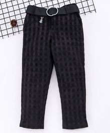 Noddy Checked Full Length Pants With Belt - Black