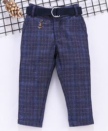 Noddy Checked Self Design Full Length Pants With Belt - Navy Blue