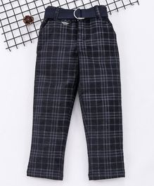 Noddy Checked Full Length Pants With Belt - Navy Blue