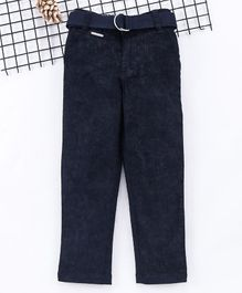 Noddy Solid Full Length Pants With Belt - Navy Blue