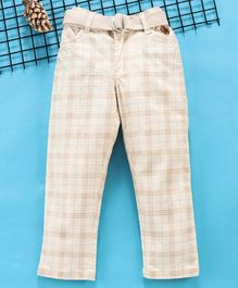 Noddy Checked Full Length Pants With Belt - Beige