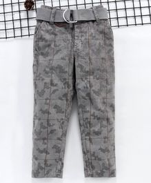 Noddy Camouflage Print Full Length Pants With Belt - Grey