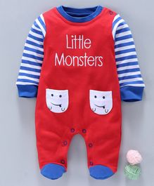 Wonderchild Full Sleeves Little Monster Embroidered Romper - Red
