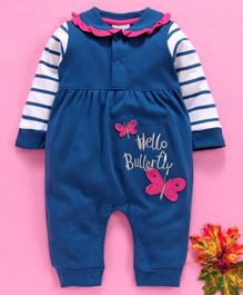 Wonderchild Full Sleeves Butterfly Patch Romper - Blue