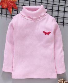 Babyhug Cotton Full Sleeve Tee Butterfly Patch - Baby Pink