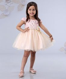 Mark & Mia Cap Sleeves Party Wear Frock Star Embellishment - Peach