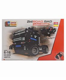 Imagician Playthings 2 In 1 Road Bad Fun Blocks With Rechargable Remote Control Car Black - 486 Pieces