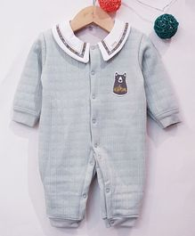 Aww Hunnie Bear Patch Full Sleeves Romper - Blue