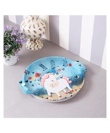 Quirky Monkey Round Blue Unicorn Metal Tin Tray - Blue