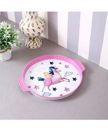 Quirky Monkey Round Star Unicorn Metal Tin Tray - Pink & White