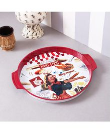 Quirky Monkey Bread Vintage Metal Tin Tray - Red