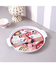 Quirky Monkey Vintage Coffee Metal Tin Tray - White