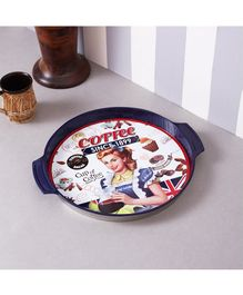 Quirky Monkey Vintage Coffee Metal Tin Tray - Blue