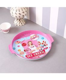 Quirky Monkey Vintage Ice-cream metal Tin Tray - Pink