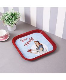 Quirky Monkey Bon Appetit Metal Tin Tray - Red