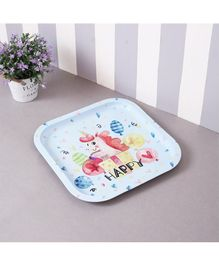 Quirky Monkey Happy Unicorn Metal Tin Tray - Light Blue