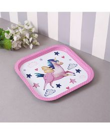 Quirky Monkey Star Unicorn Metal Tin Tray - Pink