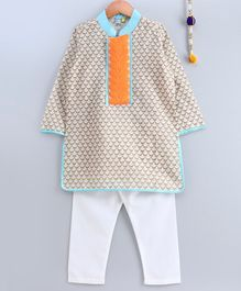 Frangipani Kids Lace Patch At Neckline Full Sleeves Kurta With Pajama - Blue Beige & White