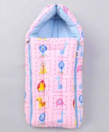 Zoe Sleeping Bag Lion & Giraffe Print - Pink