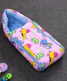 Zoe Sleeping Bag Giraffe & Monkey Print - Pink