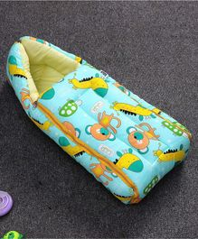 Zoe Sleeping Bag Giraffe & Monkey Print - Blue