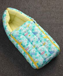 Zoe Sleeping Bag Rabbit & Star Print - Turquoise Green