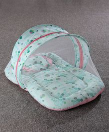 Baby Mattress With Mosquito Net & Pillow Hippo Print - Green