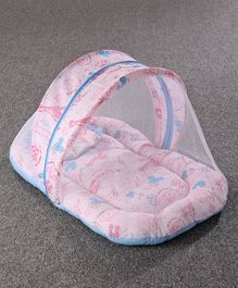 Zoe Baby Mattress With Mosquito Net & Pillow Animals Print - Pink