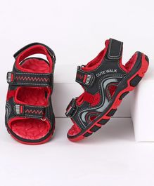 Cute Walk by Babyhug Sandals With Triple Velcro Closure - Red Black