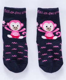 Bonjour Quarter Length Non Terry Socks Monkey Design - Navy Blue