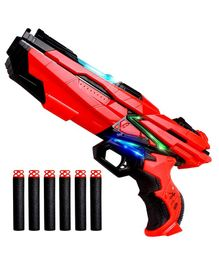 Baybee Blaster Gun With LED Flashing Light and 6 Foam Bullets - Red Black
