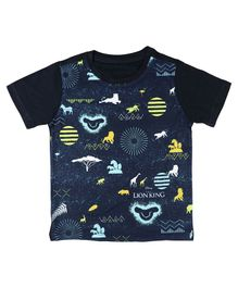 Disney By Crossroads All Over Animal Print Half Sleeves T-Shirt - Navy Blue