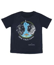 Disney By Crossroads Lion Print Half Sleeves T-Shirt - Navy Blue