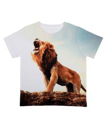 Disney By Crossroads Lion Print Half Sleeves T-Shirt - White